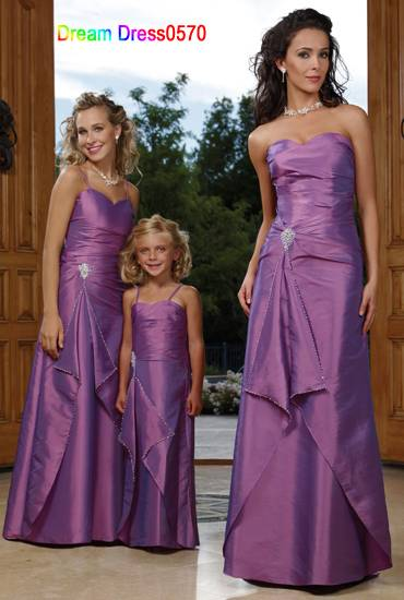 2014 New Custom Made Top Quality Purple Satin Taffeta Beading Bridesmaid Dress Bridesmaid Dress
