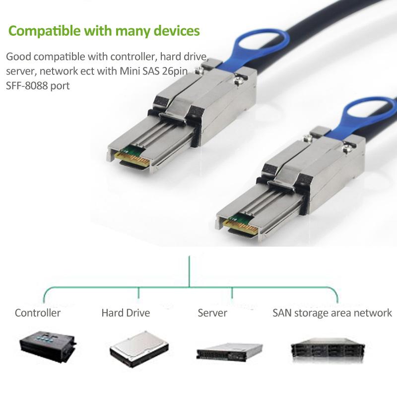 External Mini SAS 26Pin(SFF-8088) Male to Mini SAS 26Pin (SFF-8088) Male Data Cable Black 1M(3ft)