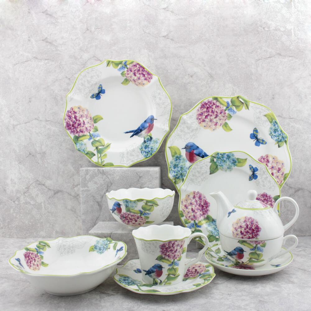 elegant floral scalloped dinnerware sets
