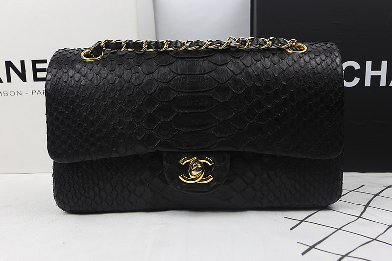 Coco Classic Flap Bag A1112 in Black Original Python Leather with Gold Hardware