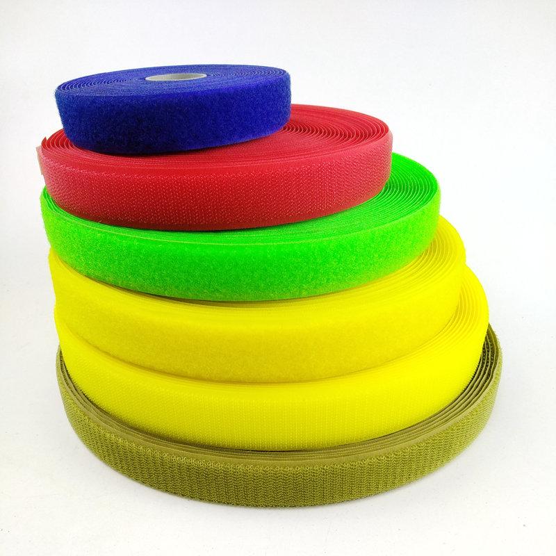 In stock whole sell Hook and loop sew on 25mm hook&loop fastener yellow hook loop strap