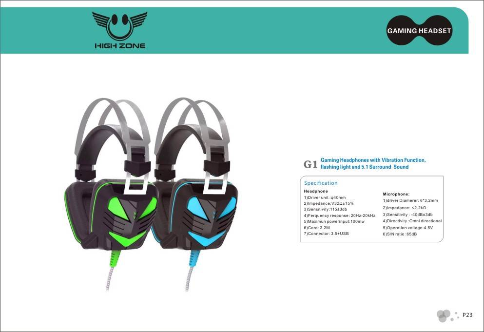 Gaming headphones with vibration function,flashing light and 5.1 surround sound gaming headset g1