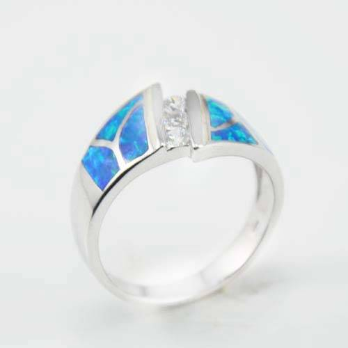 Blue silver opal ring