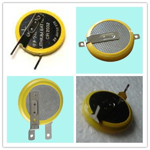 Welded CR2032 button cell with pins tabs