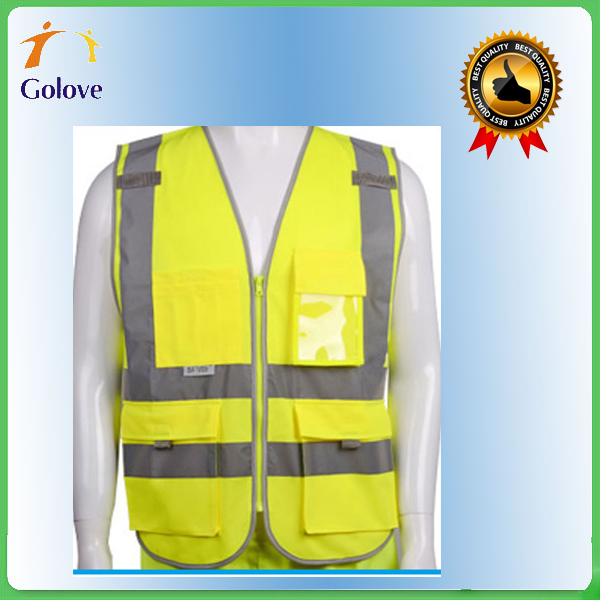 manufacturer high visibility 100% polyester safety vest with 2 horizontal tapes