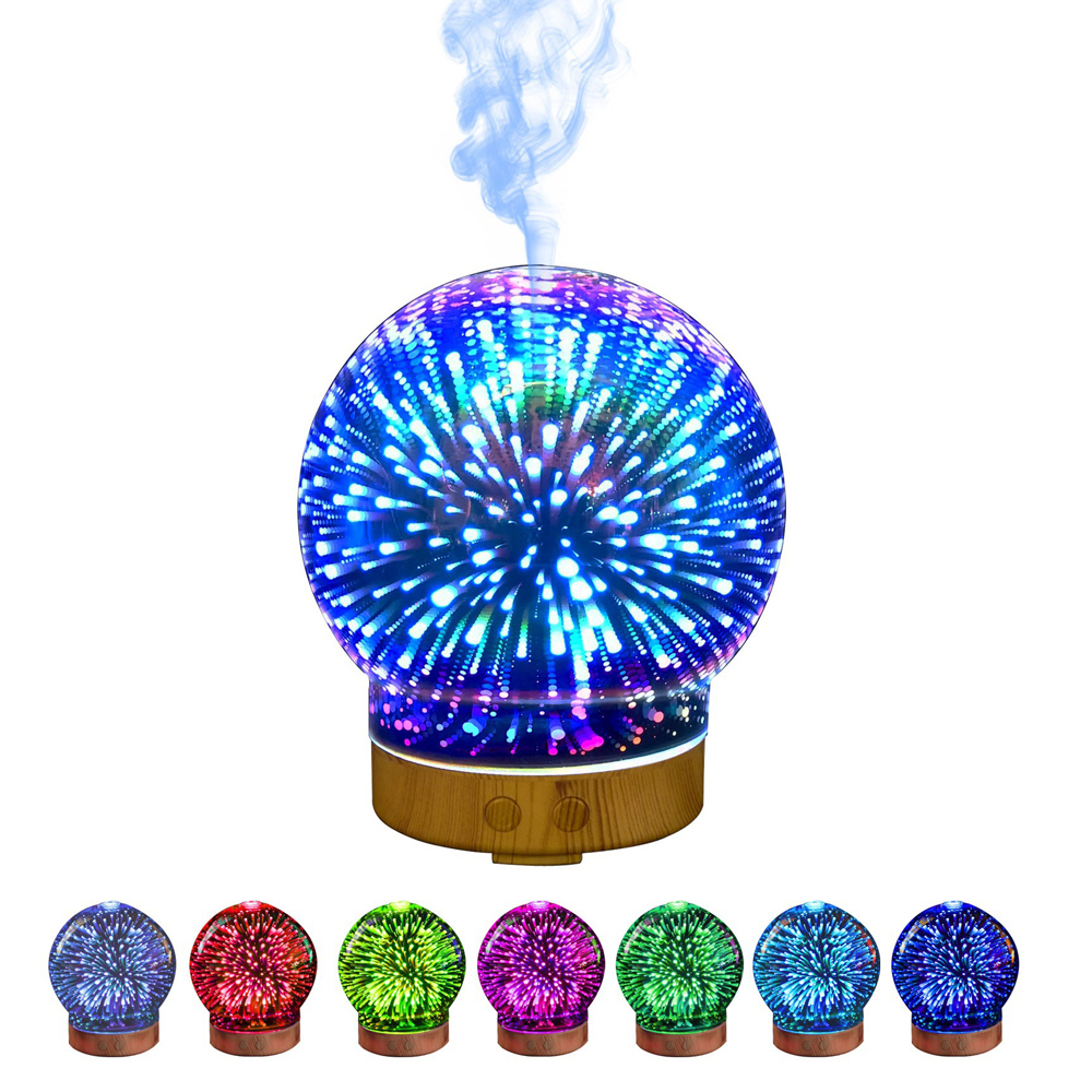 Essential Oil Diffusers for Aromatherapy, Quite Diffuser Humidifier with 8 Color Night Lights,