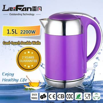 1.5L anti scald double wall portable kettle