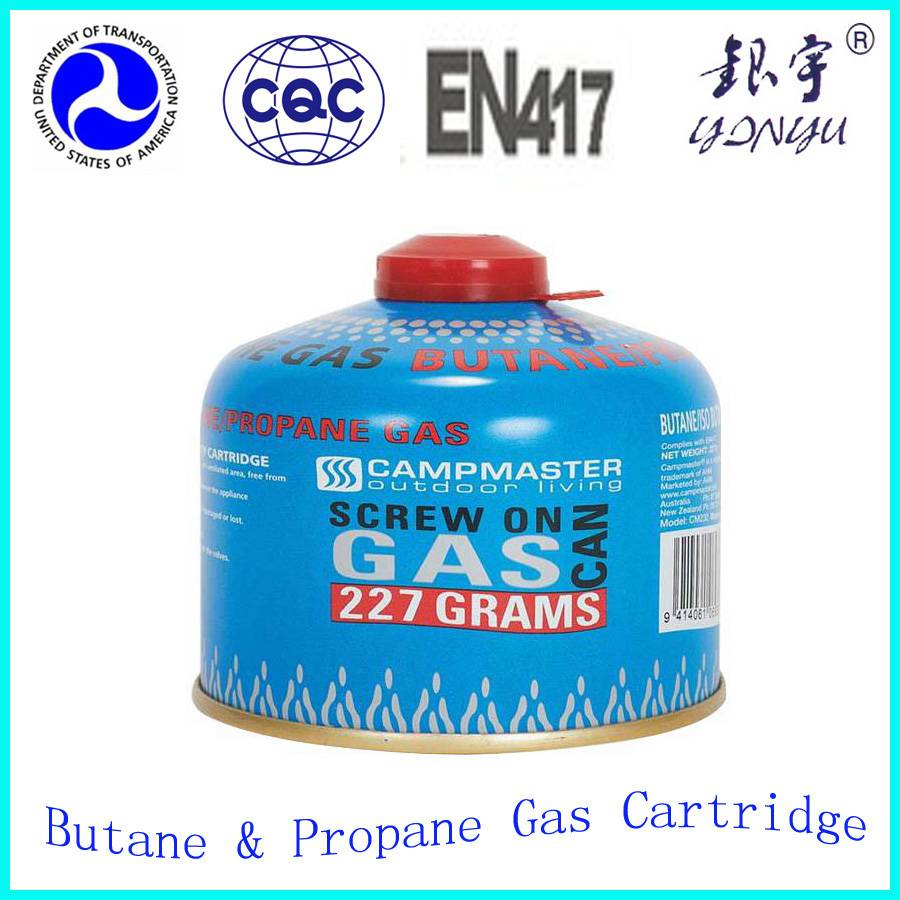 Empty gas cartridge 190g 230g 450g with threaded safety valve