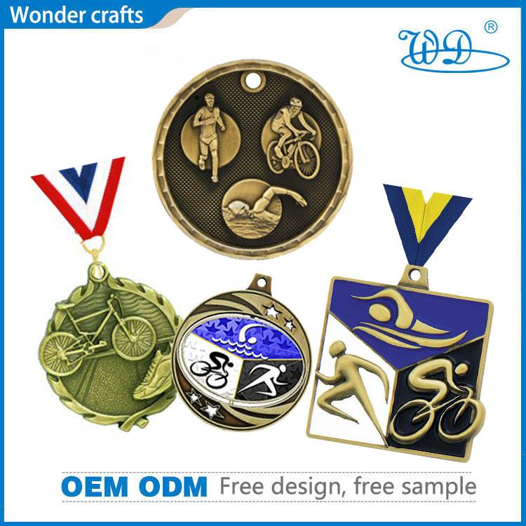 Custom Novelty 2D 3D Round Wave Edge Antique Bronze Plated Pad Printing Enamel Triathlon Medals
