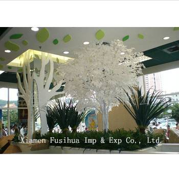 Artificial White Ficus Tree