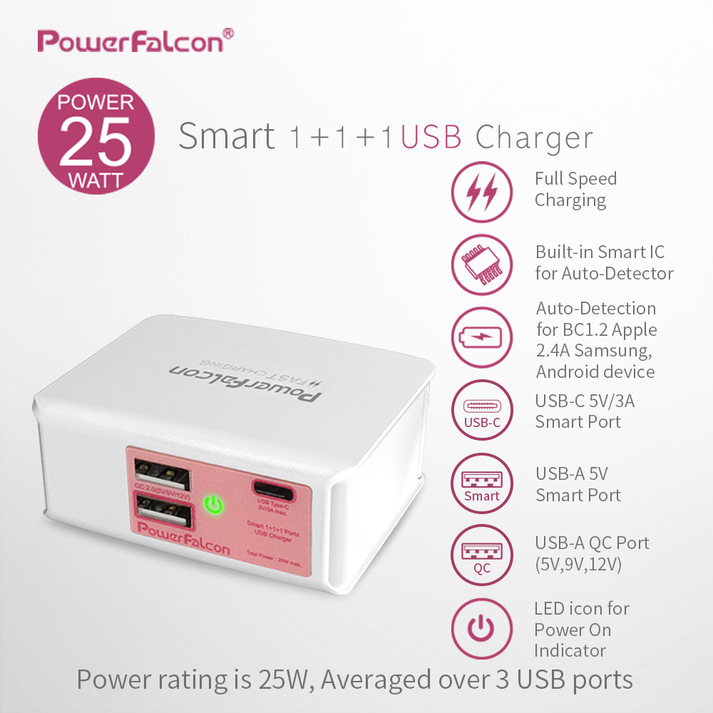 Powerfalcon 25W Smart 1+1(USB-C)+1(QC2.0) port Charger/Foldable
