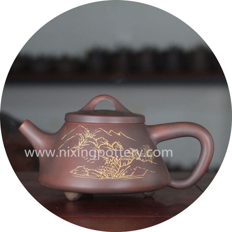Pot Pure Hand Landscape Painting Ceramic chinese Tea Pot Set Shi Piao