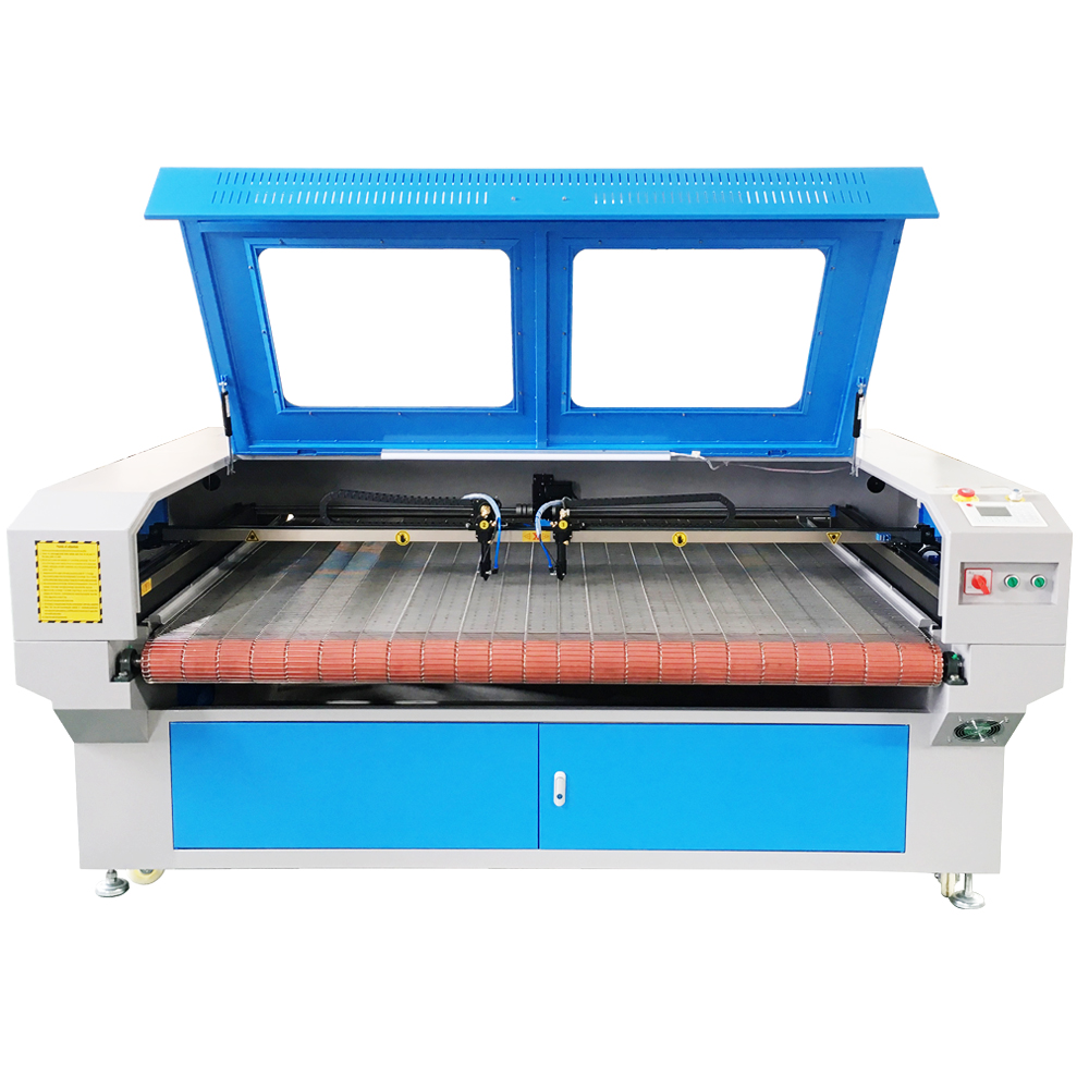 Leather fabric laser cutting machine double head auto feeding machine for sale 16001000mm