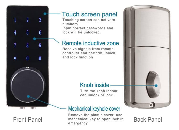 Apartment Office Use Remote Control ID Card Digital Keypad Door Lock
