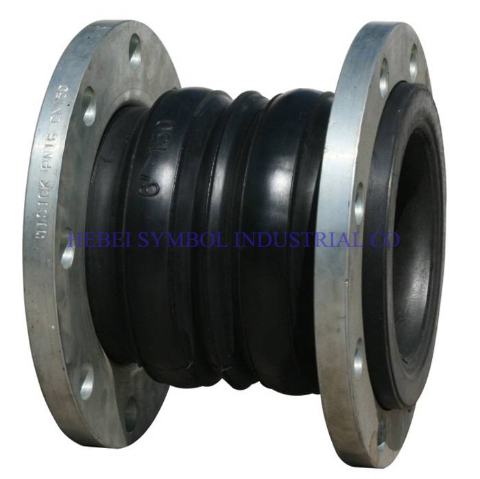 double sphere ball rubber bellow joint with flange