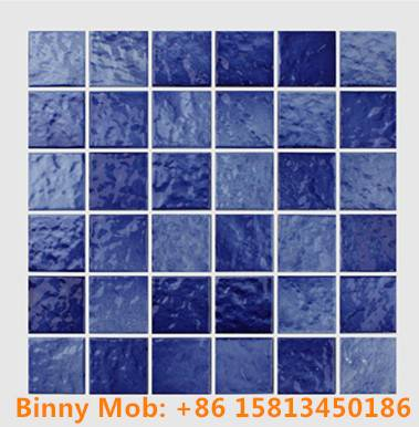 48x48 Standard antiskid glazed wave like blue white ceramic swimming pool mosaic tiles