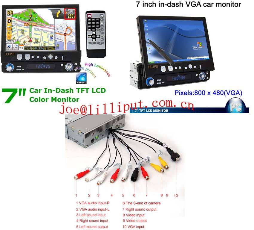 7 In Dash TFT LCD TV With Touchscreen Gl701