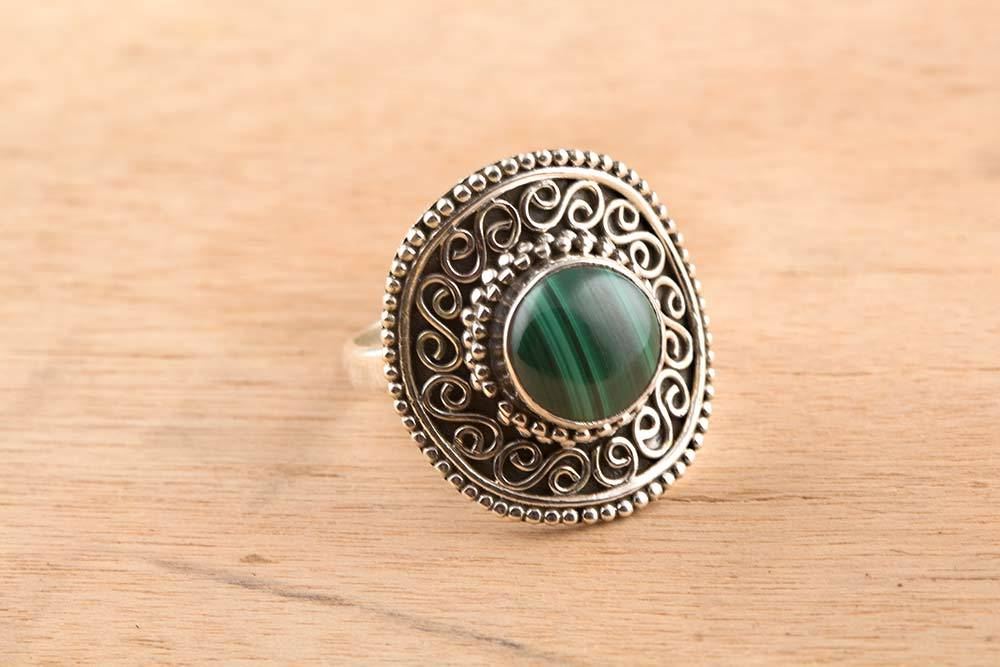 92.5 sterling silver Malachite Ring