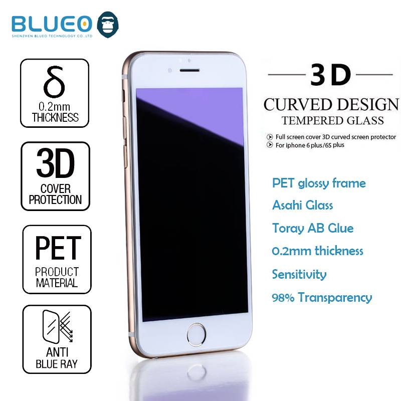 Blueo Nano Glossy PET frame 3D Edge 0.2mm 9H Anti blue for iphone6 s plus tempered glass screen prot