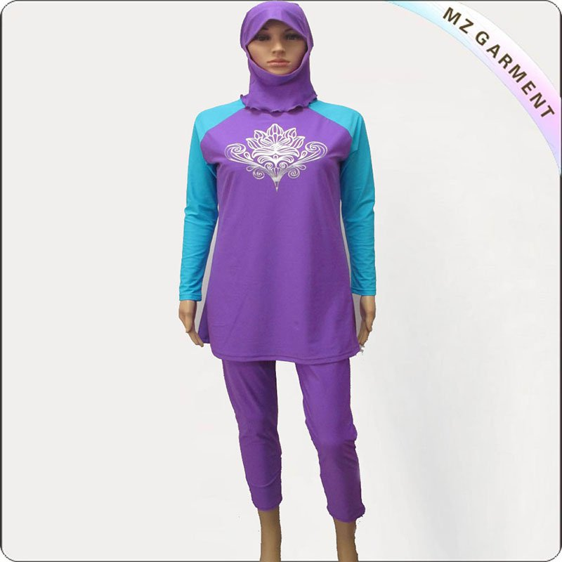 Purple & Royal Long Sleeve Muslim Swimwear
