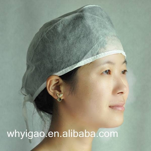 surgical cap with fixed tie