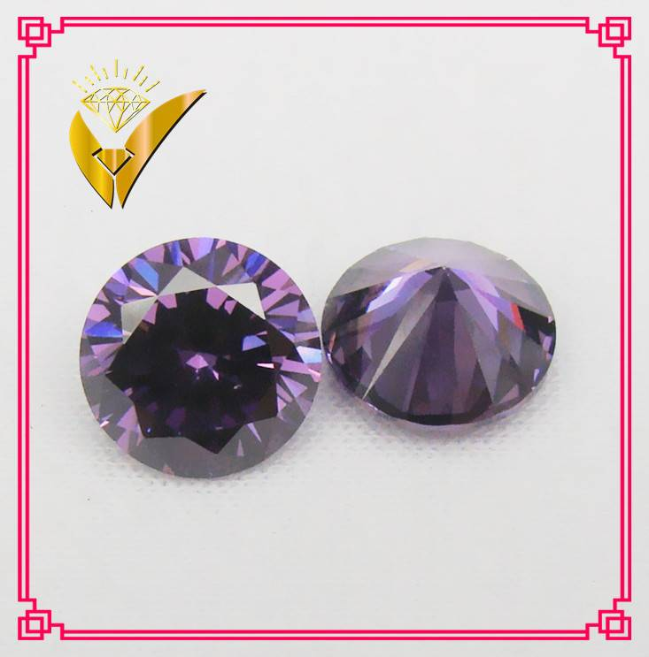 purple color round shaped cz supplier