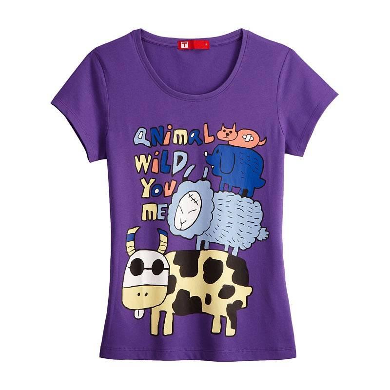 Animals Short Sleeve T-shirt (Women) Violet