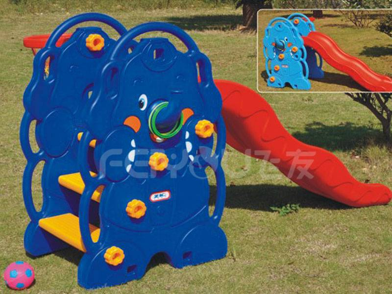 Small playground plastic slide with swing set for kids FY826402