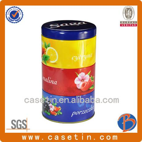 chinese factory manufacturing customized metal round three layers candy tin box