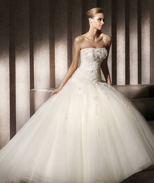 2014 New Custom Made Ivory/White Satin Tulle Lace Applique Beading Wedding Dress Brial Gown