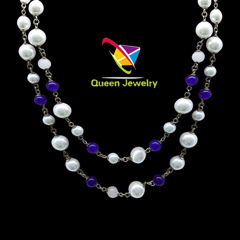 surprise pearl necklace white pearl blue jade handmade gemstone jewelry real pearl necklace set