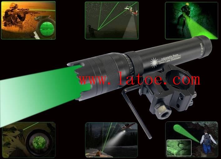 Green Laser Designator Adjustable Beam Laser Torch Flashlight for hunting.