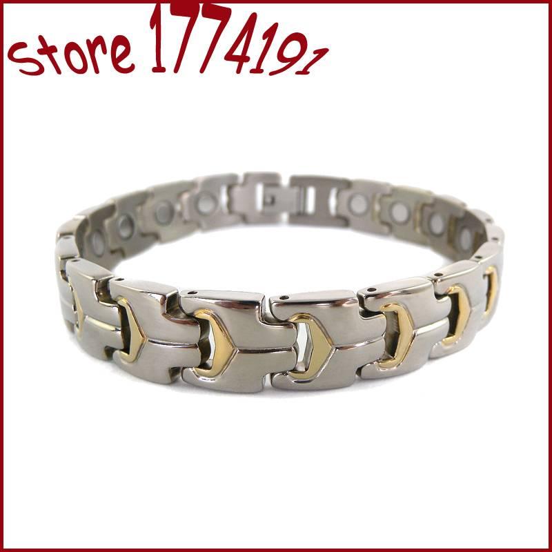 magnetic titanium bracelet bangle men design 18k gold plating mirror polished finished