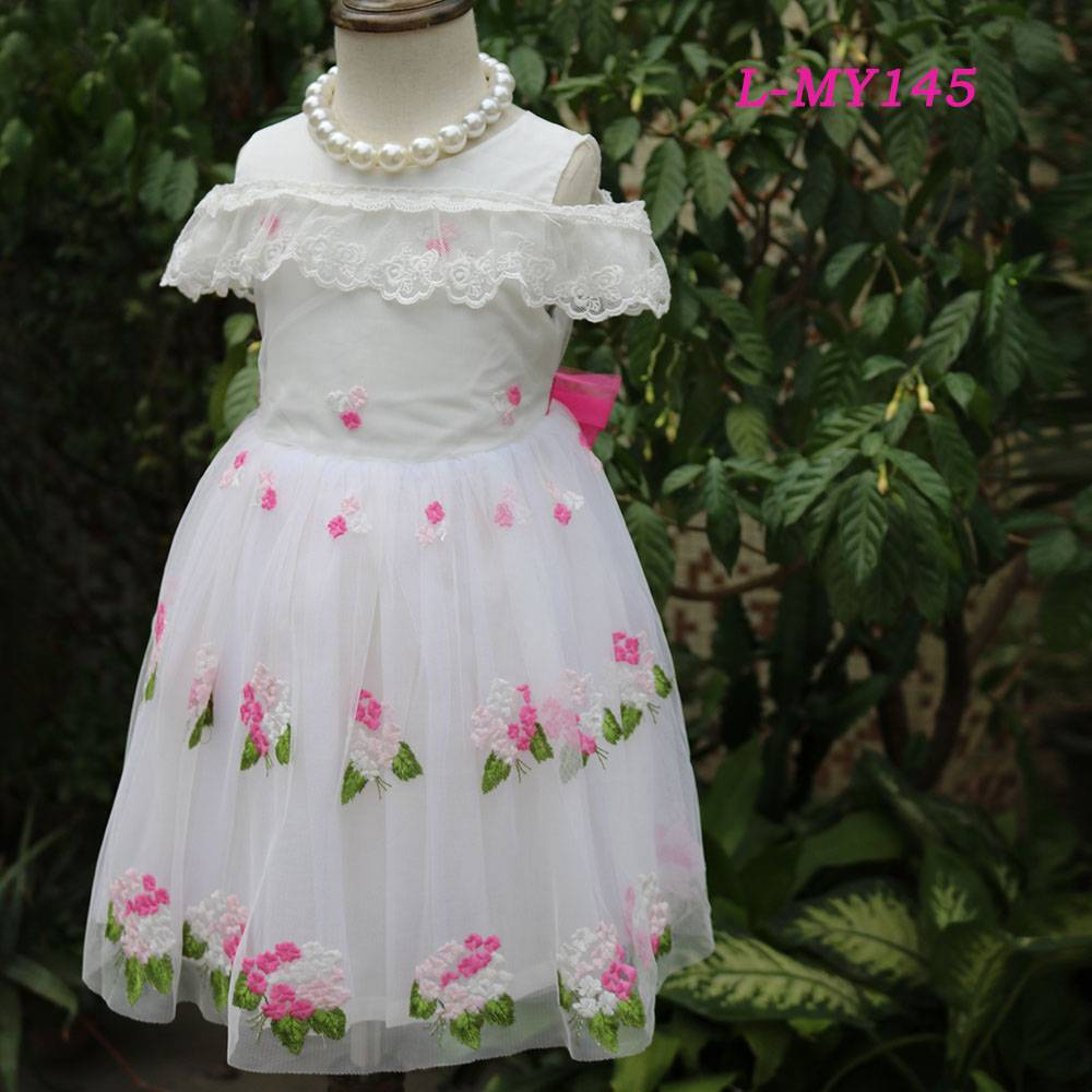 Fashion long dress chiffon new style off shoulder lace dress girls maxi embroidered kids wear fancy