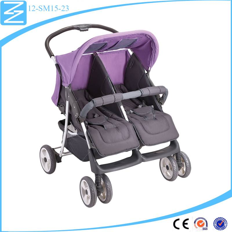2016 most popular double stroller steel frame umbrella stroller