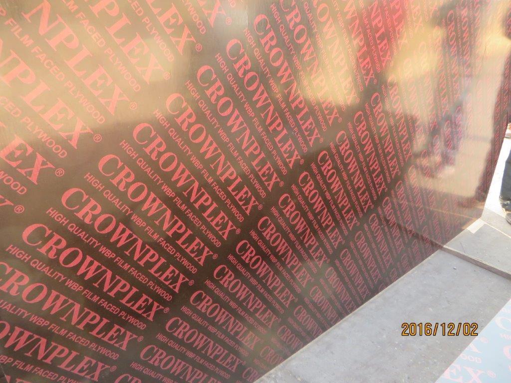 CROWNPLEX brand film faced plywood,poplar core.Brown film faced Plywood