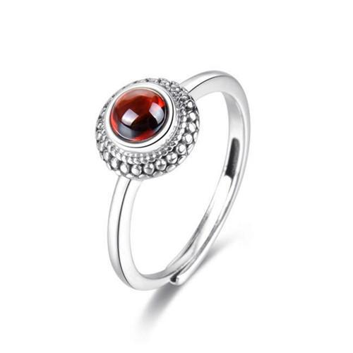 Handmade modern garnet stone jewelry red garnet flower dress ring in sterling silver