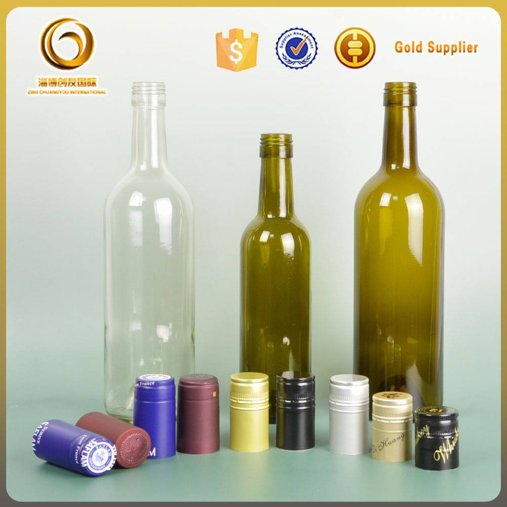 wholesale 750ml green glass wine bottles with corks