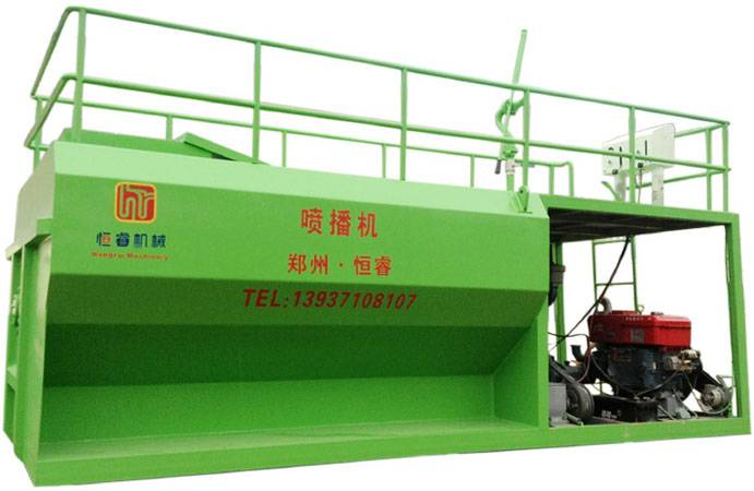 Hydraulic spraying machine for grass seeding