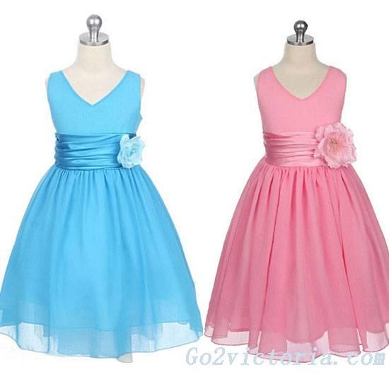 Wholesale Chiffon Sash Flower Girl Dress (3020)