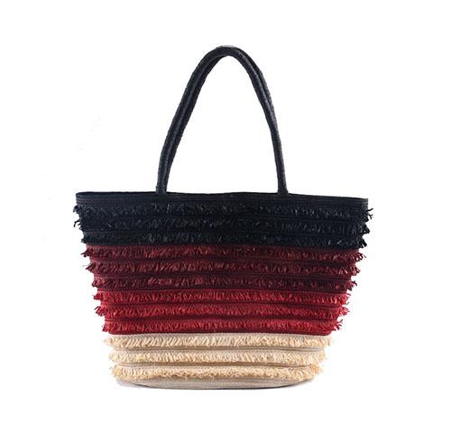 Multi Color Braid Striped Straw Beach Bag