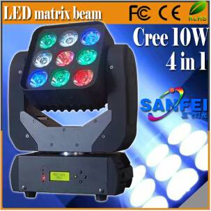 9X10W 4in1 RGBW Beam Mini LED Matrix Moving Head Light