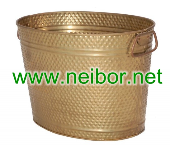 brass oval bucket, copper bucket, brass ice bucket with embossing, party tubs,wash tub