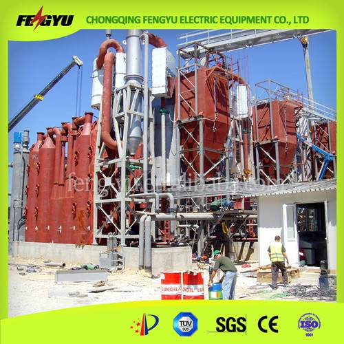 Woodchips biomass gasifier converting woodchips into electric power