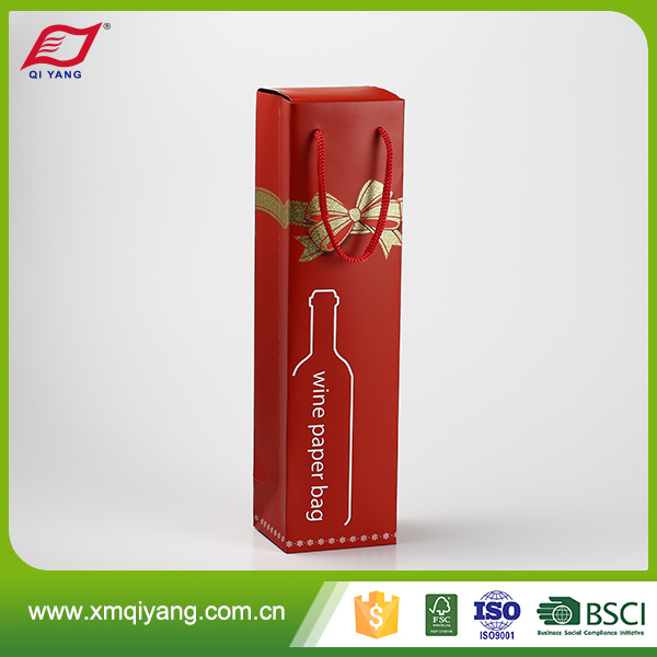 Customized size wholesale custom printed mini wine bottle paper bags