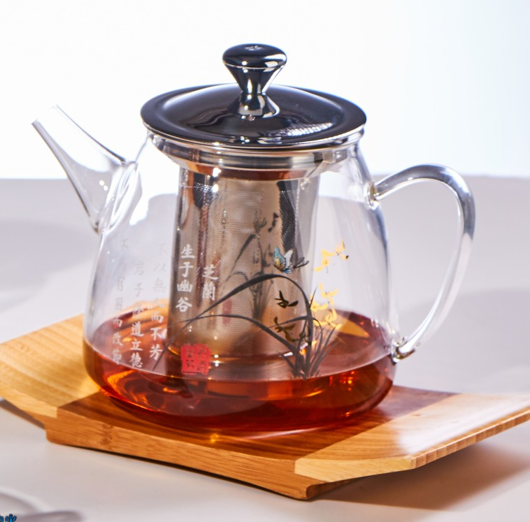 Heat Resistant Borosilicate Glass Teapot with Stainless Steel Infuser