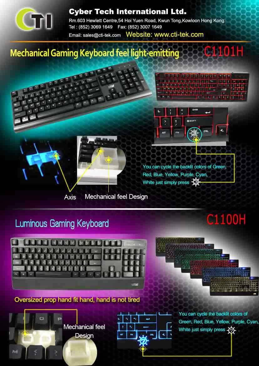 7 Multi-color LED Backlit Gaming Keyboard with Classy Design(Option)k