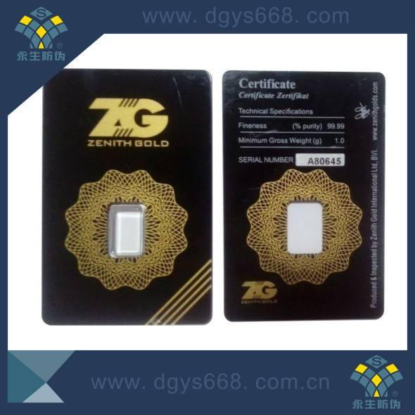 Security seal tamper proof PVC card for gold bar
