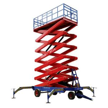China manual hydraulic scissor lift platform with four wheels