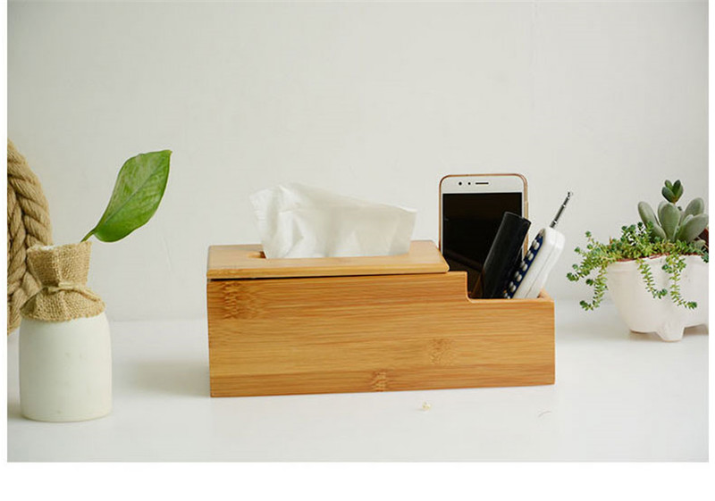Bamboo and wood tissue box for hotel , restaurant ,home, office
